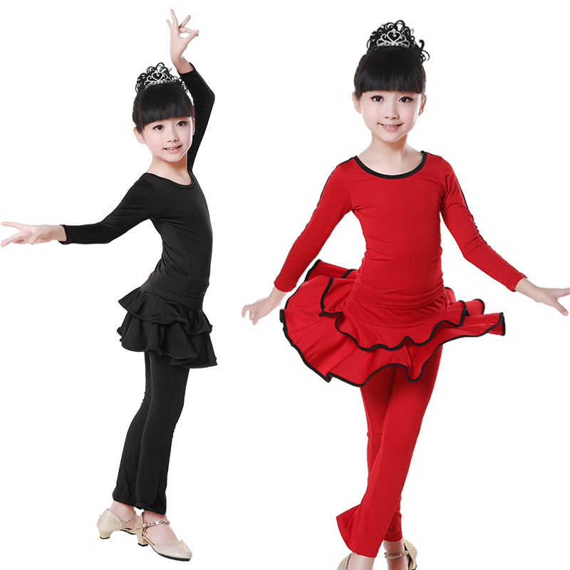 Children's Latin Dresses Costumes Fall / Winter Children's Dress Up Girls Latin Dance Dresses Long Sleeves Dresses