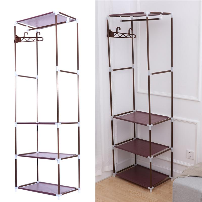1pcs Portable Clothes Rack Organizer Bedroom Garment Floor-standing Shelf Clothing Coat Rack Storage Stand Home Improvement