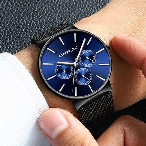 Image 5 - Reloj Hombreนาฬิกาผู้ชายCRRJUแบรนด์หรูนาฬิกากันน้ำUltra Thinวันที่นาฬิกาข้อมือชายตาข่ายCasualนาฬิกาควอตซ์