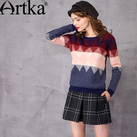 Artka Women S Autumn New Loose Style Jarquard Sweater Fashion O Neck Long Sleeve Comfy All