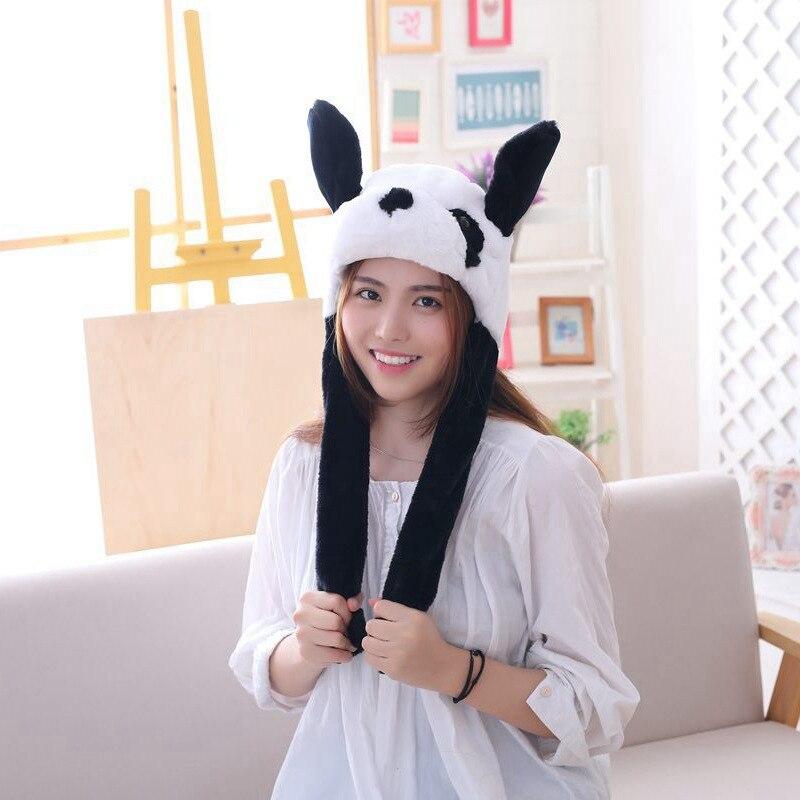 Cute Panda Shaped Hat Plush Toy Headwear Playtoy Ear Up Down Toys Caps Doll Joke Tricks For Kids Girl Girlfriend