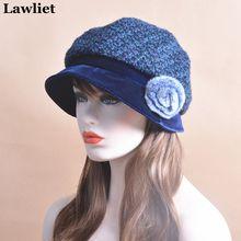 T173 2016 New winter Womens French Velvet Hat Newsboy Buckle Cap slouchy beanie visor with marten