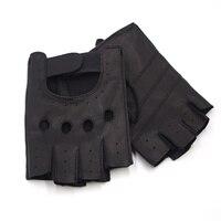 Harssidanzar последние мужские Перчатки Кожаные Водительские Прихватки для мангала подкладки Половина Finger