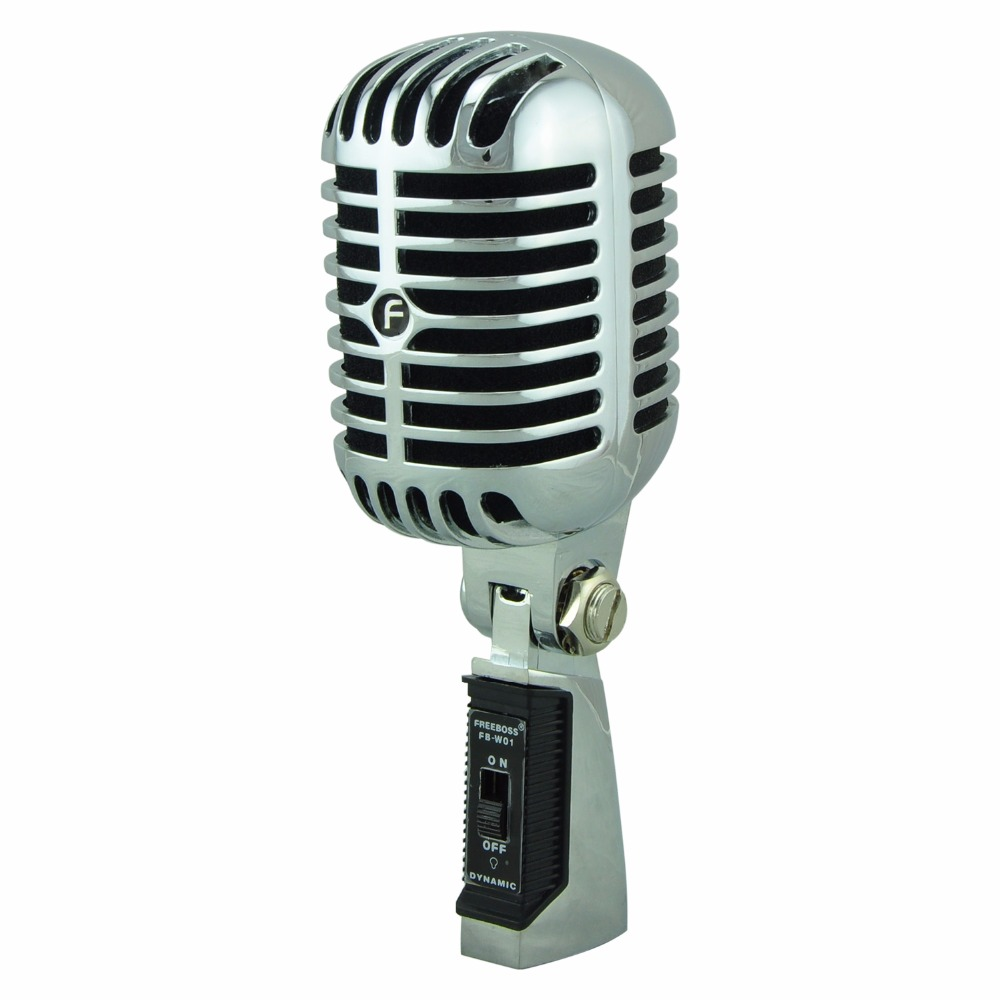 FREEBOSS FB-W01 Wired Dynamic Retro Microphone Vintage Style Professional Karaoke KTV Studio Mic Jazz Stage Vocal Mic lenovo original um10c portbale wired microphone karaoke microphone professional concert live wireless microphone for smartphone