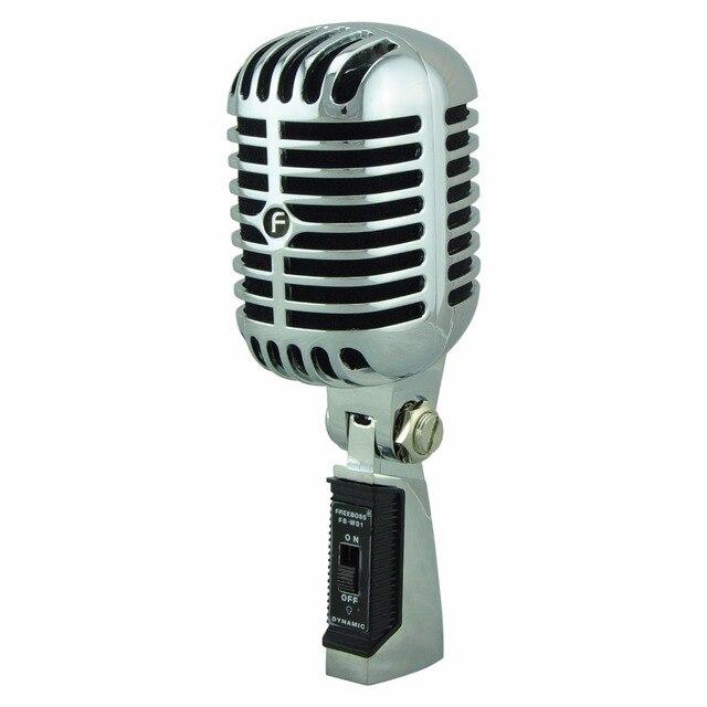 FREEBOSS FB W01 przewodowy dynamiczny mikrofon Retro styl Vintage profesjonalny Karaoke KTV Studio Mic Jazz Stage wokalny mikrofon