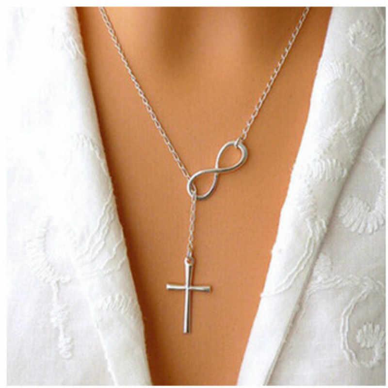 Прекрасный шик неограниченная длина пролета серебряная цепь корейское Новое модное ожерелье в форме Креста женская подвеска на цепочке ювелирные изделия