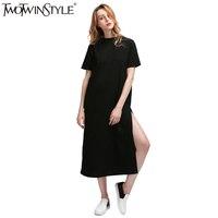 TWOTWINSTYLE 2016 Fashion Streetwear High Slit Long T Shirt Women Dress Loose Big Size Short