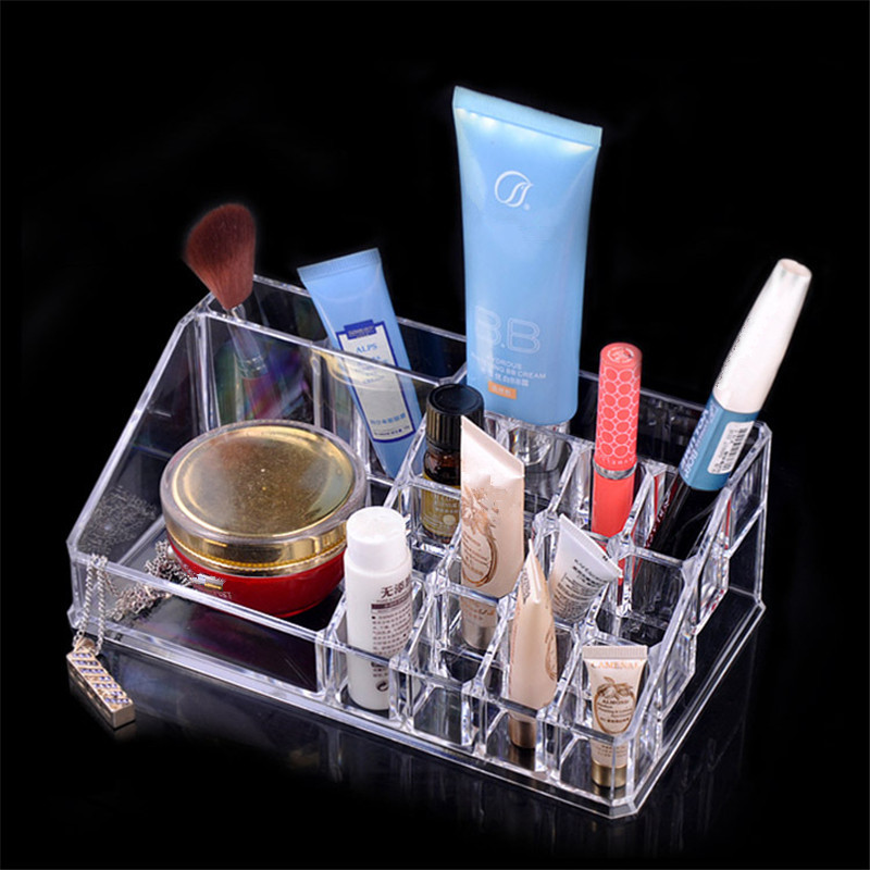 Transparent Crystal Cosmetics Lipstick Shelf Storage Box Makeup Case Organizer Storage Box Factory Direct Free Shipping