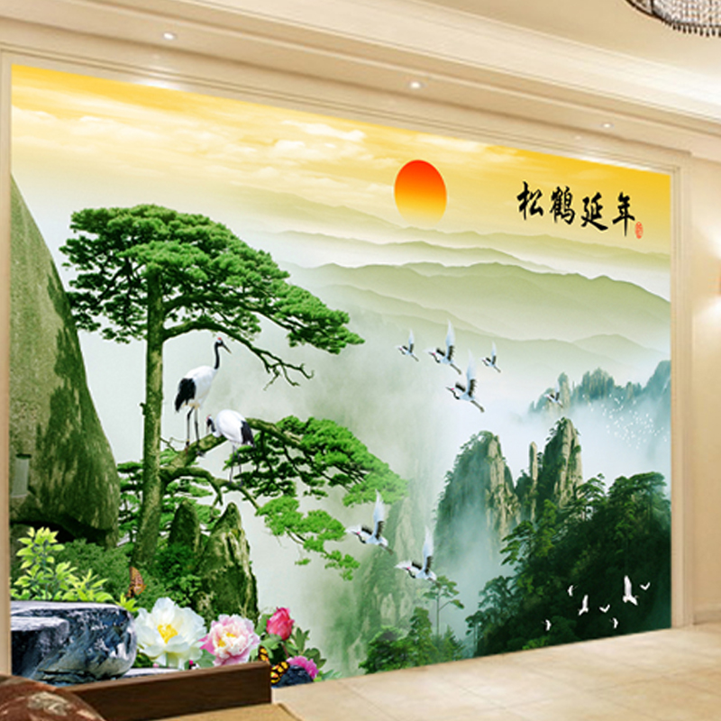 Custom 3D stereoscopic large mural wallpaper wall paper living room TV backdrop of Chinese landscape painting style classic custom green forest trees natural landscape mural for living room bedroom tv backdrop of modern 3d vinyl wallpaper murals