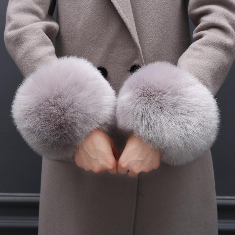 Amazing Women Faux Animal Fur Winds Cuffs Wind Armlet Plush Oversleeve Elastic Wrist Gloves For Women Sleeve Bracelet Accessory