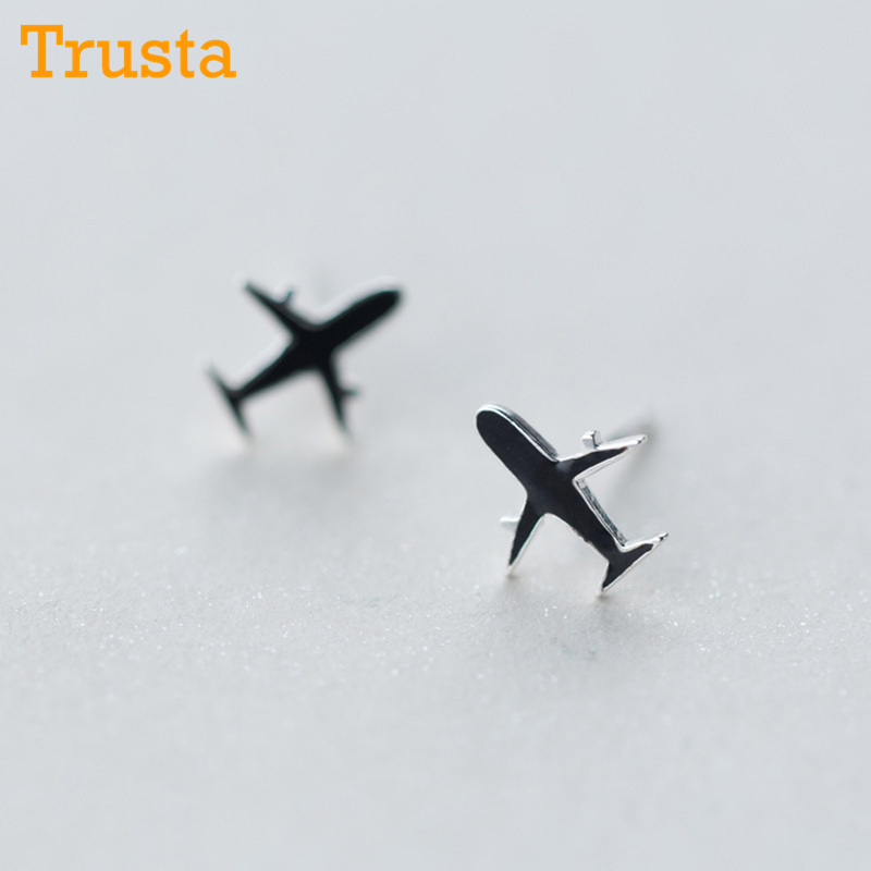 516a7bca6 Detail Feedback Questions about Trusta 100% 925 Solid Sterling Silver Black Aircraft  Airplane Plane 8mmX9mm Stud Earrings Women's Handmade Jewelry DS825 on ...