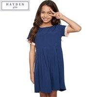 FAMIFAMI School Girl Dress 2017 Summer Blue Short Sleeve Dress For Girls Teenagers Dresses Size 7