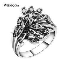 Vintage Black Crystal Peacock Wedding Rings For Women Accessories Fashion Silver Little Eeys Leaves Ring Bulgaria Jewelry(China)