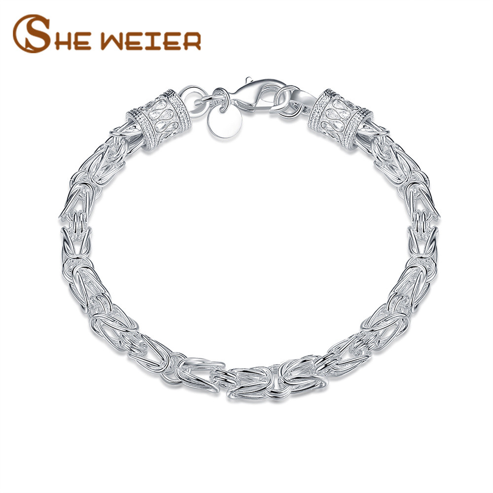 SHE WEIER chain link jewelry accessories gifts for women charms bracelet femme female girls hologram silver friendship braslet