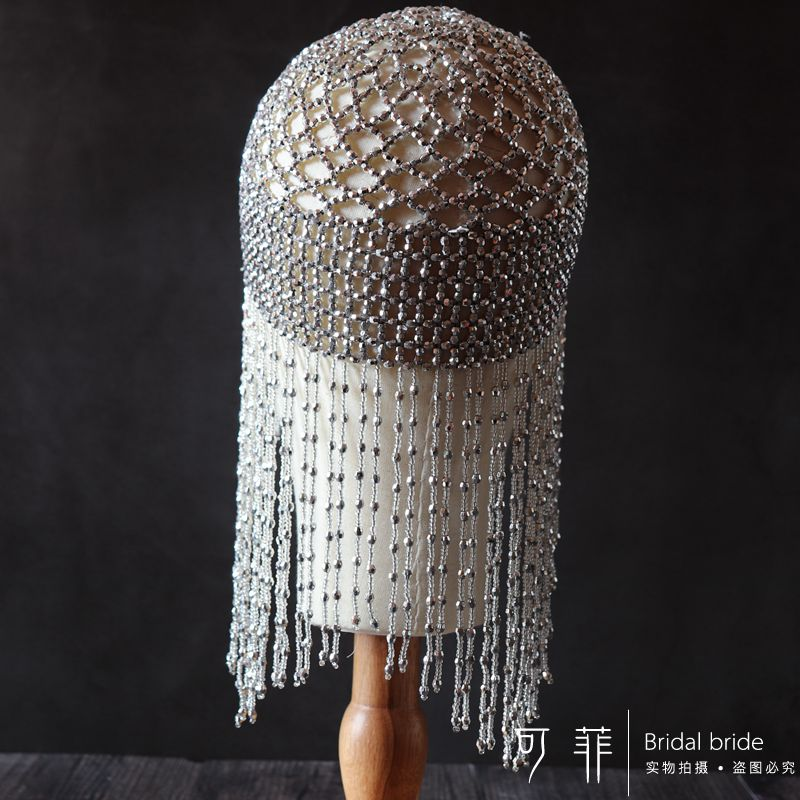 1920s Beaded Cap Headpiece Roaring 20s Beaded Flapper Headpiece Belly Dance Cap Exotic Cleopatra Headpiece for Gatsby Themed Party (Silver)  (1)