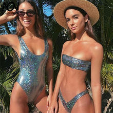 2019 New Off Shoulder Bikini Set Leather Sequins Swimsuit Black Vintage Low Waist Swimwear Snakeskin Style Sexy Novelty Swimsuit(China)