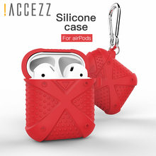!ACCEZZ For Apple Airpods Bluetooth Earphones Case Cover Accessories Portable Wireless Headphones Charging Box With Keychain