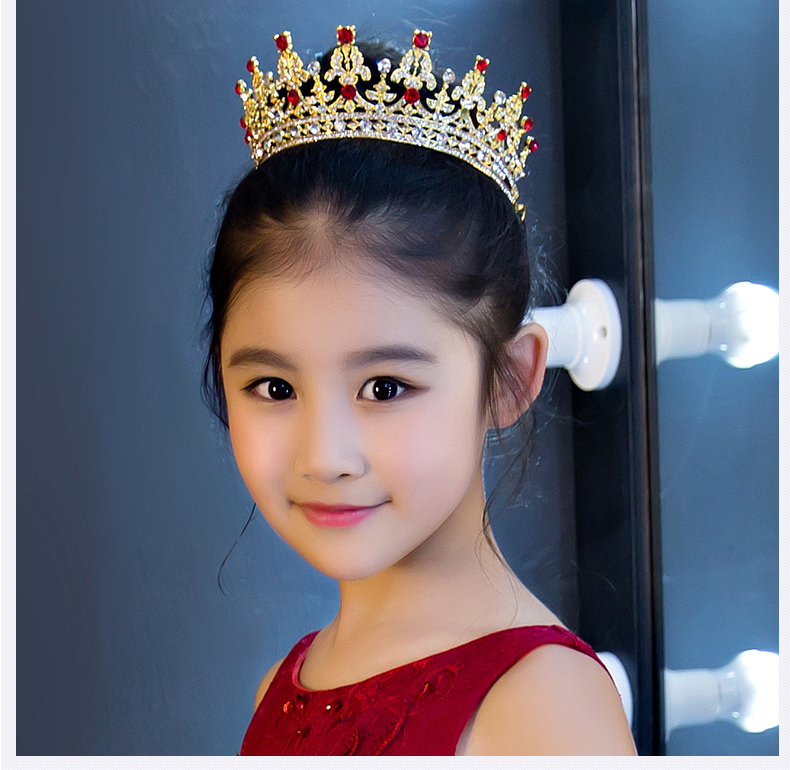 SHOSIXUAN Child crown princess lovely water drill girl hair ornament baby crown little girl hair card head ornament flower girl