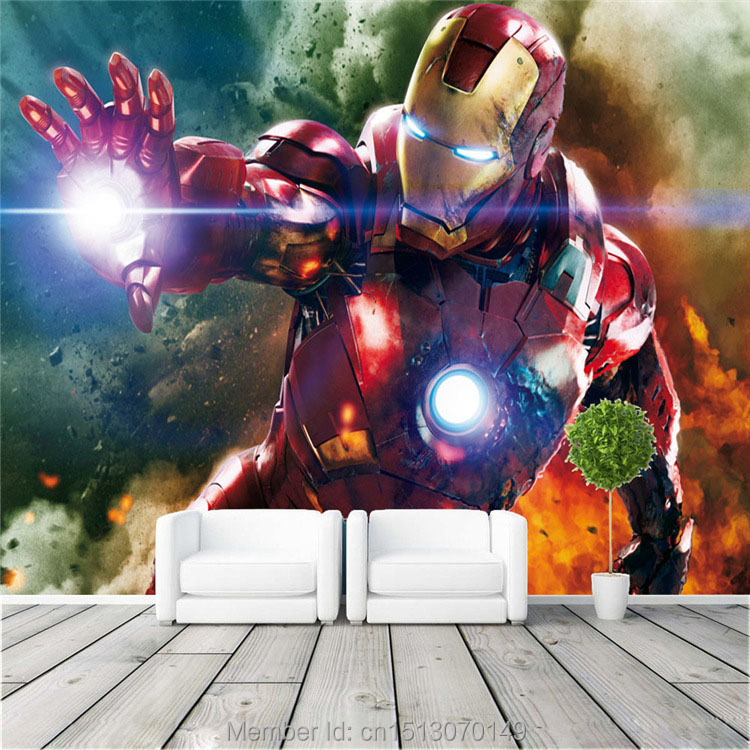 Iron man Wall Mural The Avengers Photo wallpaper Custom Silk Wallpaper living room Bedroom Childrens Room Unique gift Free shipIron man Wall Mural The Avengers Photo wallpaper Custom Silk Wallpaper living room Bedroom Childrens Room Unique gift Free ship