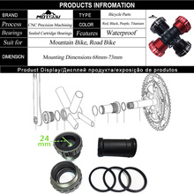 MOTSUV Bicycle Bottom Bracket Bike Axis Plastic and Rubber Bottom Bracket for 68/73mm Crank Axis