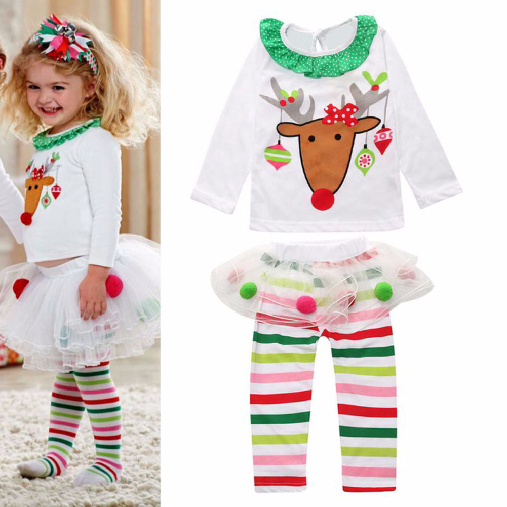 2Pcs/Set Baby Girls Christmas Clothes Set Deer Printed T-shirt Tops+Tutu Skirt Pants Girls Xmas Outfits Kid Children Clothes 2015 elegant baby girls christmas reindeer top tutu tulle skirt pants 2 pc outfit set children christmas clothing