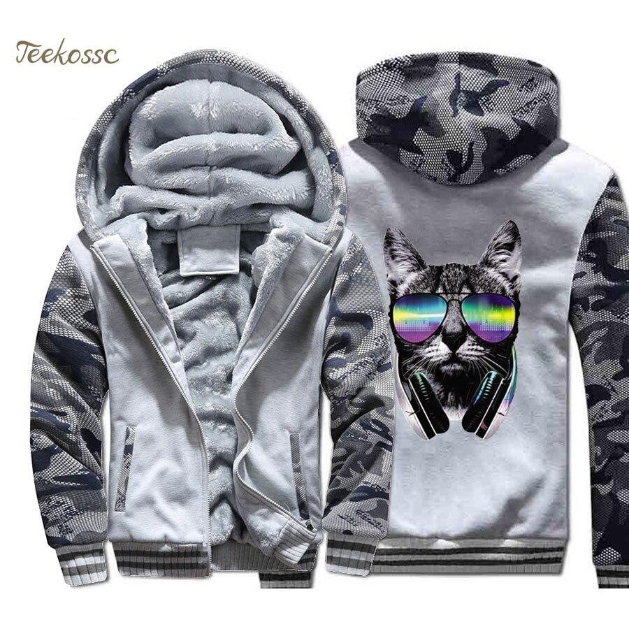 Music Cat Hoodie Men DJ Cool Punk Hooded Sweatshirt Coat 2018 Winter Warm Fleece Thick Zipper Print Jacket Hip Hop Streetwear in Hoodies amp Sweatshirts from Men 39 s Clothing