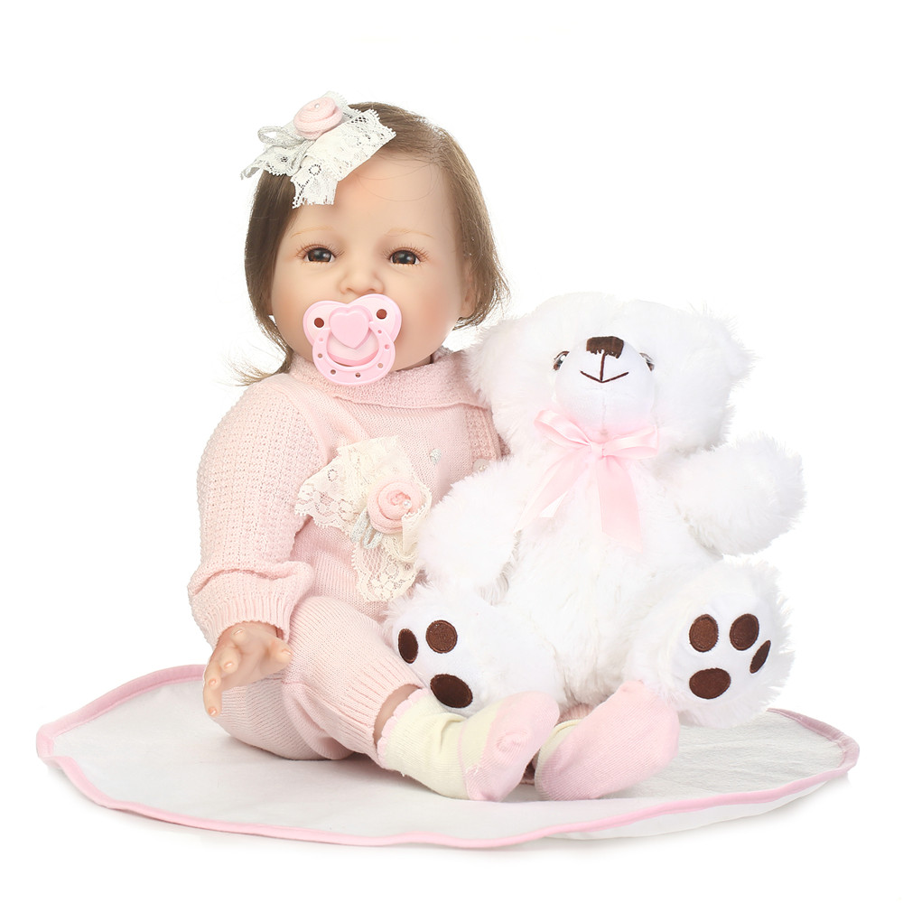 22inch Reborn silicone princess toddler dolls real touch vinyl newborn smiling girl boneca Reborn Babies kids birthday toys doll22inch Reborn silicone princess toddler dolls real touch vinyl newborn smiling girl boneca Reborn Babies kids birthday toys doll