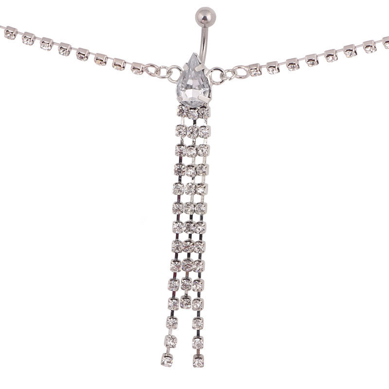 Stripper Delight So SEXY Rhinestone Belt Belly Chain crystal Chain long Drop belly ring navel body