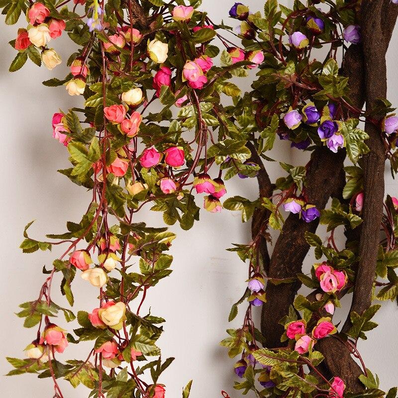 220 cm 42 unids Brote Romántico Vid de la Hiedra de Seda Rosas Con Hojas Verdes