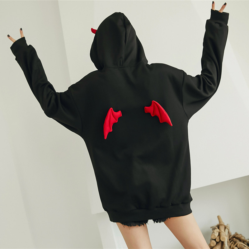 Cute Hoodies Women Punk Gothic Girls Devil Horn Chic Hooded Pullover Loose Sweatshirt Autumn Winter High Street Harajuku Hoodie