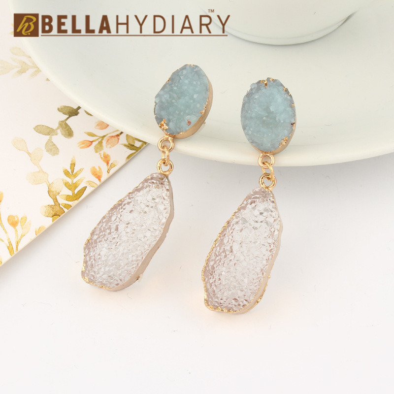 Korean Fancy Chic Stone Druzy Resin Earrings Long Drop Earrings For Women Jewelry Statement Gifts For Women Accessories Brinco 5