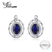 JewelryPalace 2 4ct Created Blue Sapphire Unique Design Clip On Earrings 925 Sterling Silver Statement Earring
