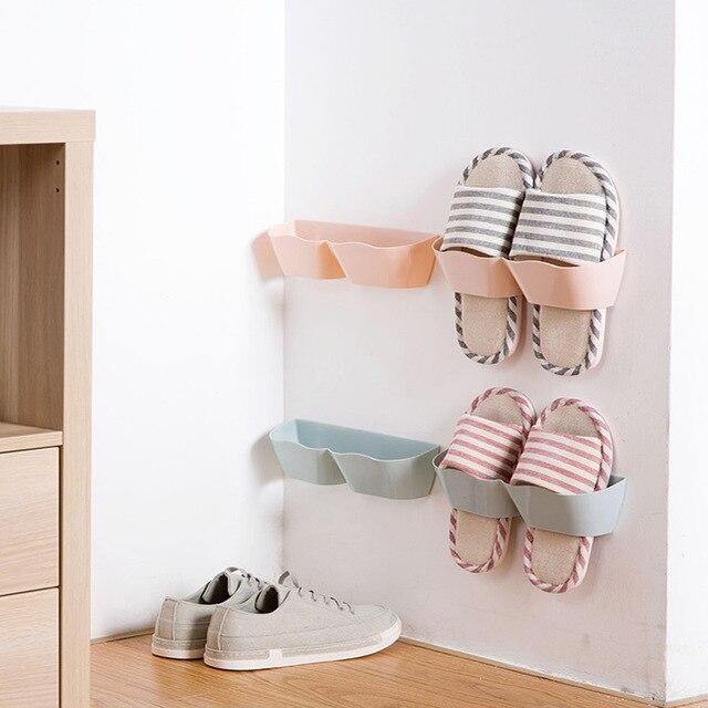 Living Room Hanging Shoe Hook Shelf Wall Rack Storage Bathroom Mounted