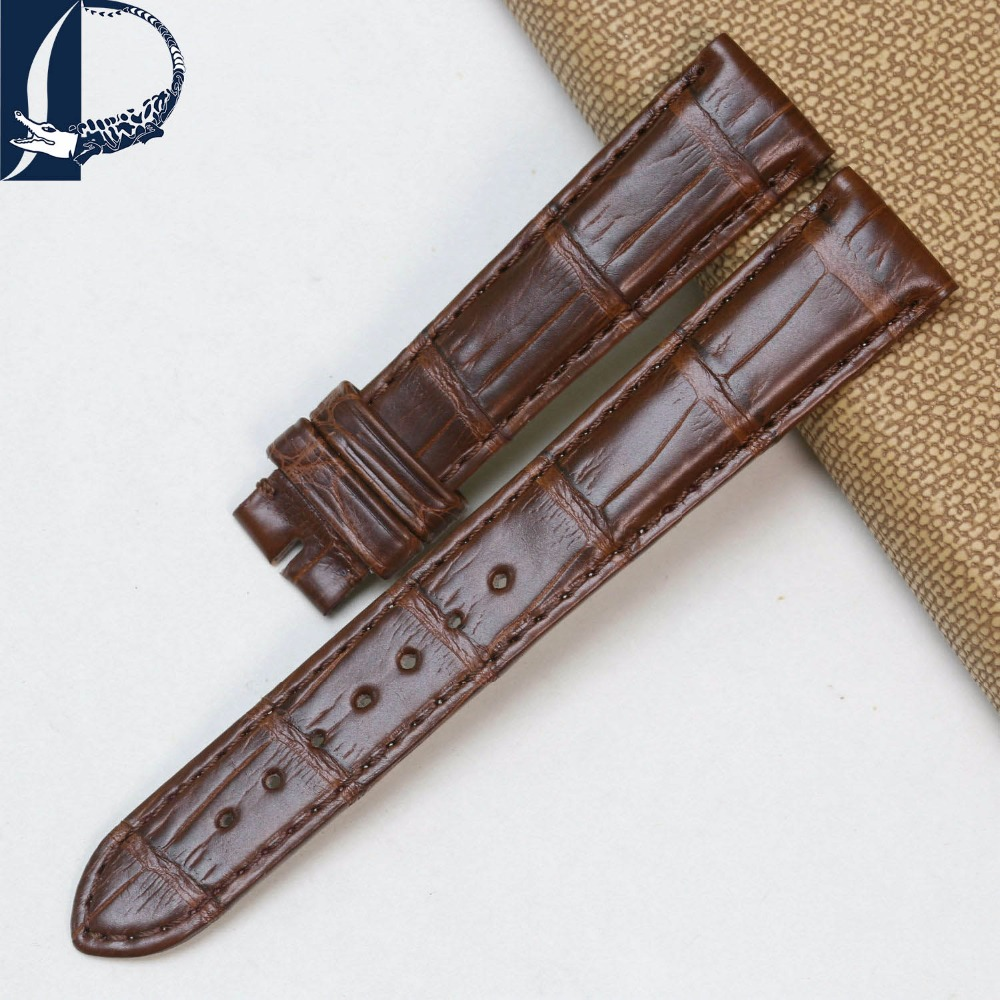 Pesno Lady Alligator Skin Leather Watch Band Genuine Crocodile Leather Watch Strap for Cartier Tank pesno 20mm soft alligator skin leather watch band strap genuine leather watchband for vacheron constantin