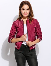 Alishebuy Fashion Women Casual Stand Collar Long Sleeve Contrast Color Zipper Jacket