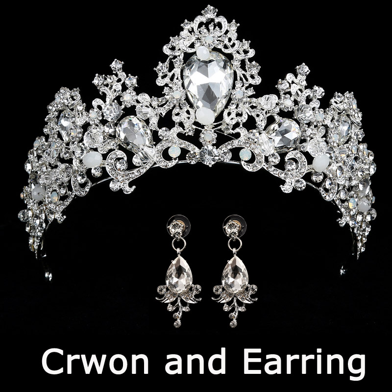 HTB1idi7snlYBeNjSszcq6zwhFXat Bridal Wedding Tiara Headband with Earrings