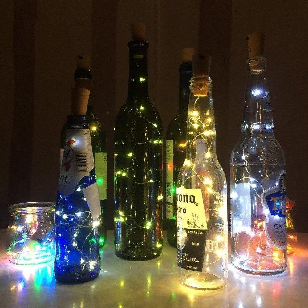 Cadena de la luz del tapón del corcho de la botella de 10PCS / lot LED para casarse clubes nocturnos del partido del Año Nuevo