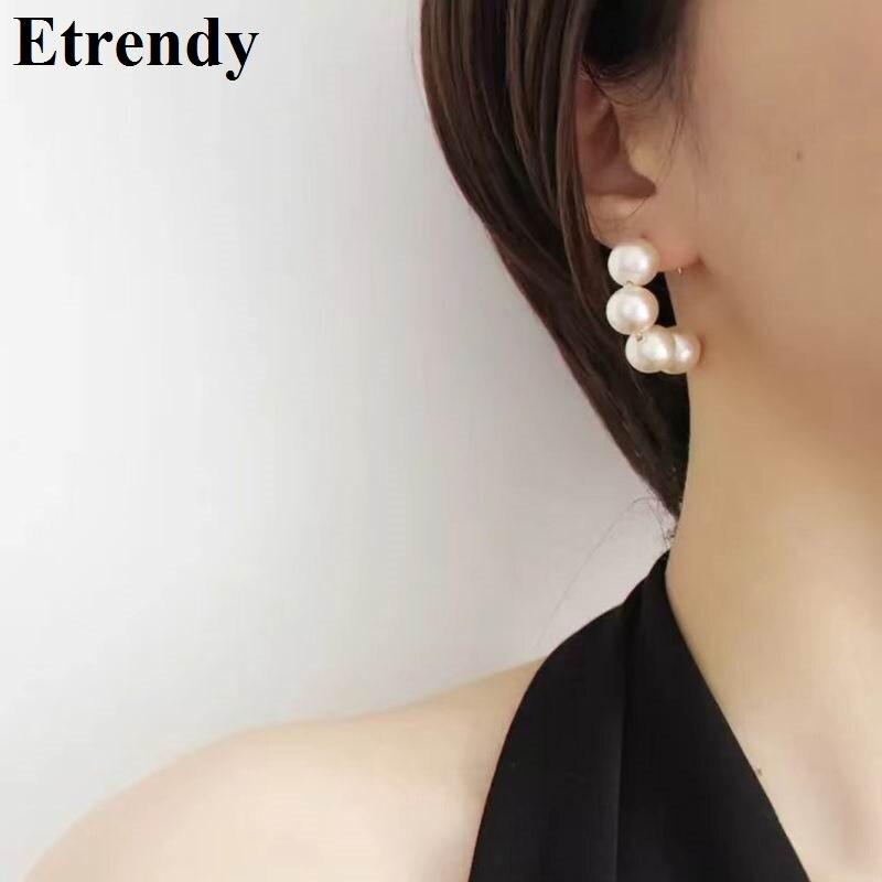 Elegant Sexy Simulated Pearl Earrings Women 2019 New Korean Earrings C Shaped Fashion Jewelry Bijoux Счастье