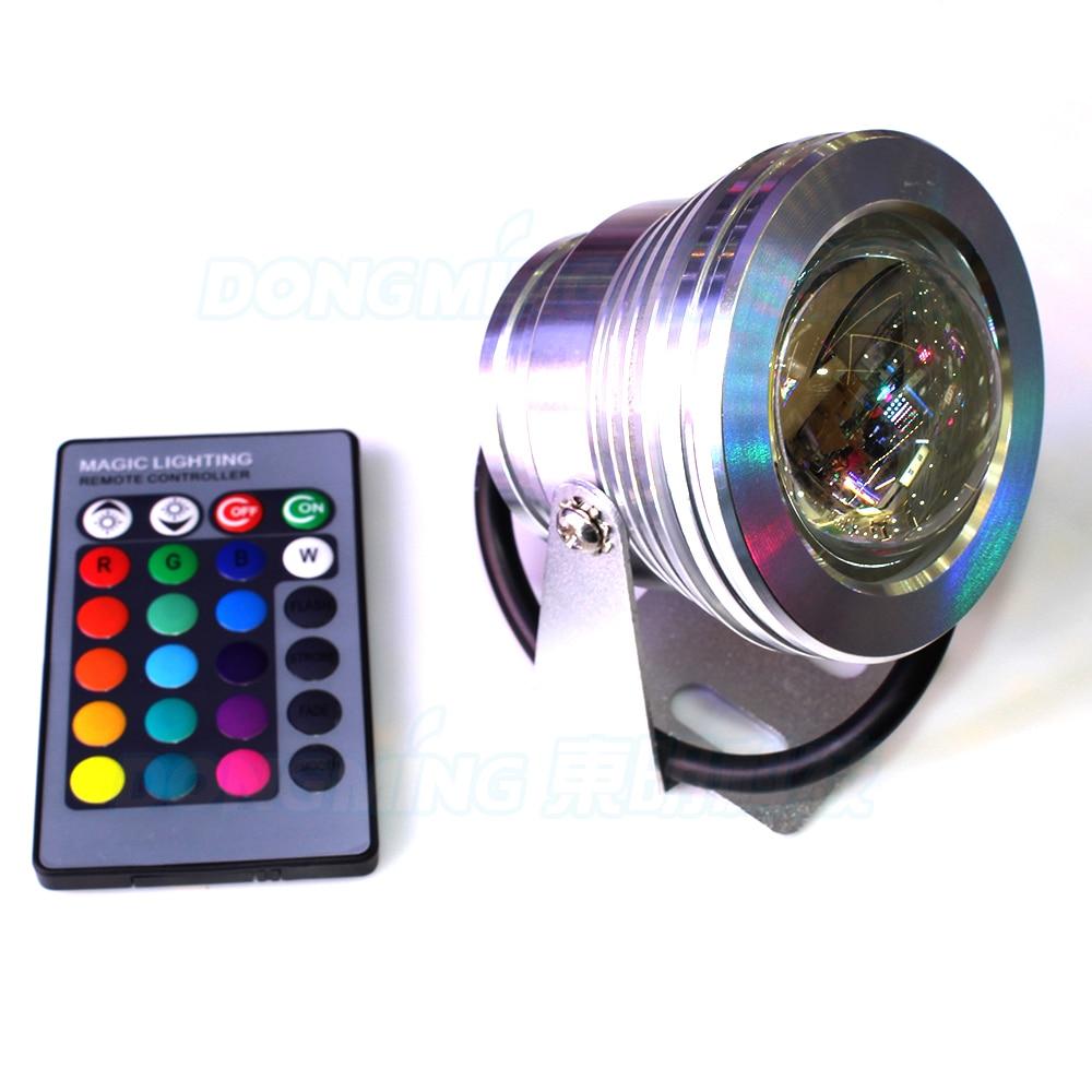 10W vandtæt IP68 Led undervands lys RGB White 110V 220V 1000LM + fjernbetjening dam spotlight svømmebassin lyslampe