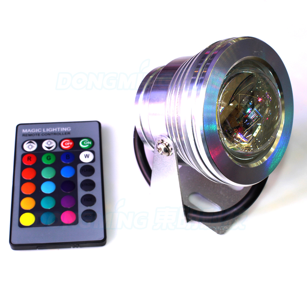 10W waterproof IP68 Led underwater light RGB White 110V 220V 1000LM + remote controller pond spotlight swimming pool light lamp
