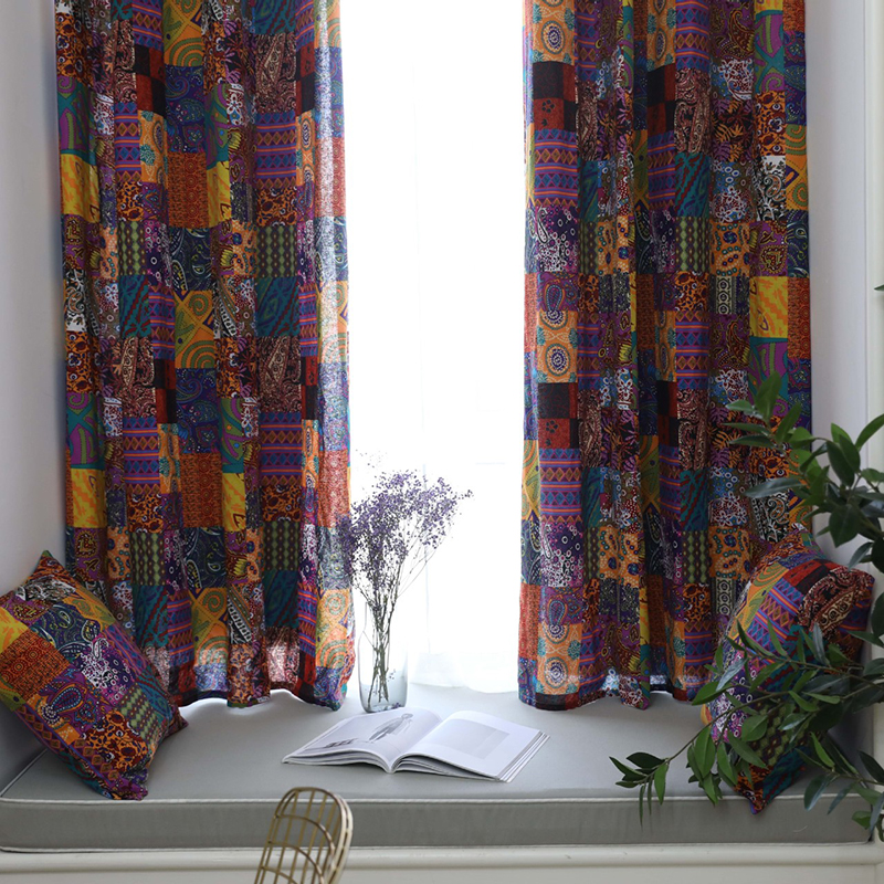 140*215cm curtain finished Bohemian retro ethnic style living room study cotton and linen half blackout curtains for home decor(China)