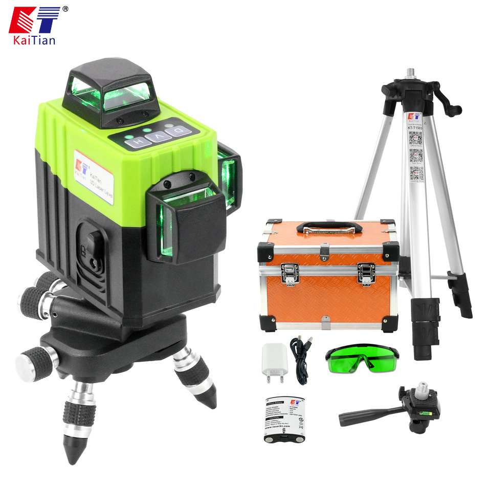Kaitian 3D Nivel Laser Level 360 12 Lines Green Tripod for Level Rotary Vertical Horizontal Lazer Measuring Construction Tools big capacity high quality canvas shark double layers pen pencil holder makeup case bag for school student with combination coded lock