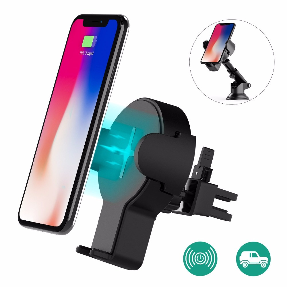 Fast Wireless Car Charger, Wofalo Retractable Wireless Car Charger Phone Bracket 360Rotatio Charging for samsung Charger