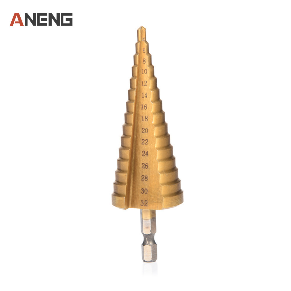 4 - 32 mm Hexagonal Titanium Step Cone Drill Bit Hole Cutter HSS4241 Stepped Drill For Sheet Metal 3pcs lot hss steel large step cone titanium coated metal drill bit cut tool set hole cutter 4 12 20 32mm wholesale
