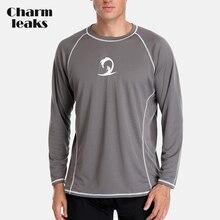 Charmleaks Men Hiking Shirt Rashguard Dry-Fit Long Sleeve Running Shirts Loose Fit Rash Guard Top UPF 50+ Breathable Beach Wear