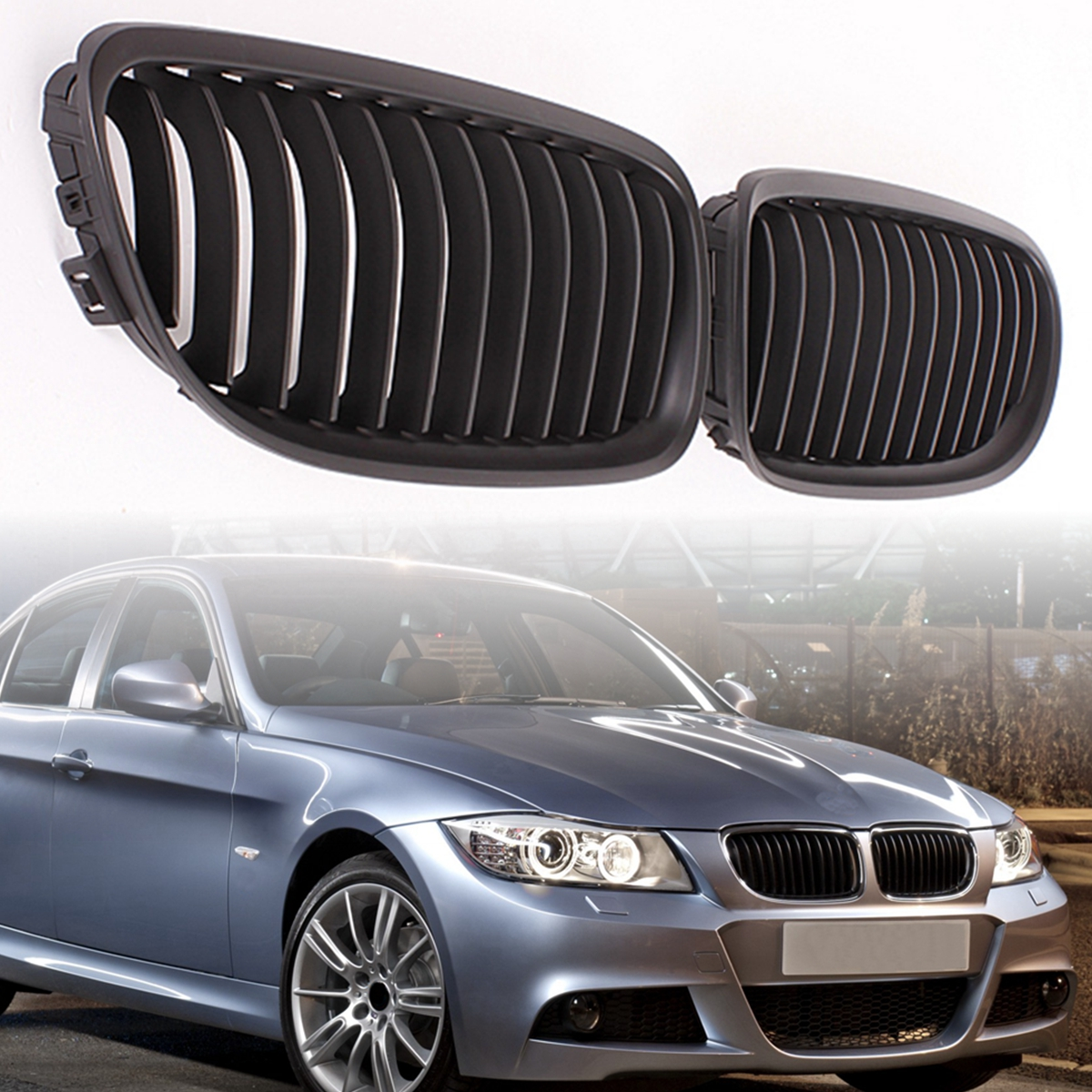 Image 2 - Pair Matte/Gloss Black Car Front Grille For BMW E90 LCI 3 Series Sedan/Wagon 09 11 Racing Grills-in Racing Grills from Automobiles & Motorcycles