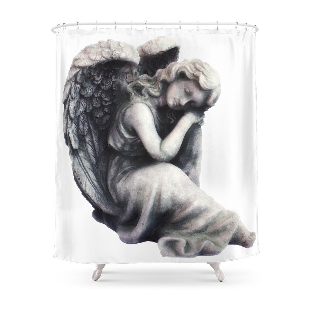 Resting Angel Shower Curtain Waterproof Polyester Fabric Bathroom Decor Multi Size Printed With 12 Hooks