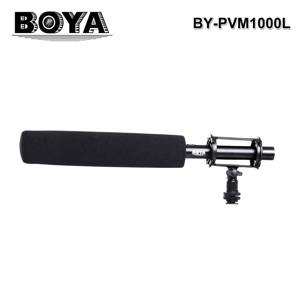 BOYA BY-PVM1000L Broadcast directional Condenser Interview Microphone Kit for DSLR Cameras Camcorder 3-pin XLR Shotgun Mic by pvm1000l condenser microphone xlr 3 pin super cardioid directional for camcorder dslr smartphone video interactive film video