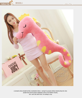 about 110cm pink colour cartoon sea horse plush toy soft sleeping pillow toy birthday gift 0326