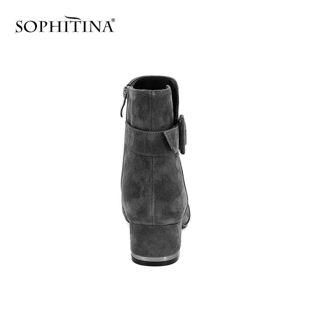 SOPHITINA Hakiki Deri Kadın Çizmeler Zarif Yüksek Topuk Yuvarlak Ayak Ayakkabı Koyun Süet Ve Sıcak Kısa Peluş Kış günlük çizmeler M78